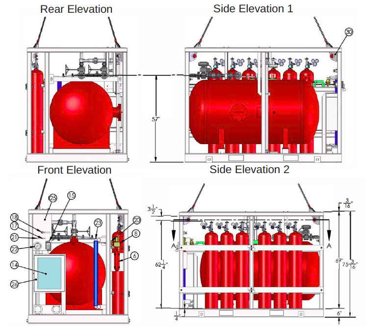 Side and Rear Elevations of CAP 437 Heliport and Helideck CAFS Fire Fighting Systems
