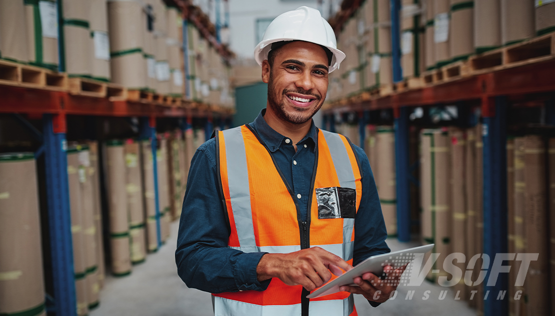 Factory manager in AI-enabled warehouse