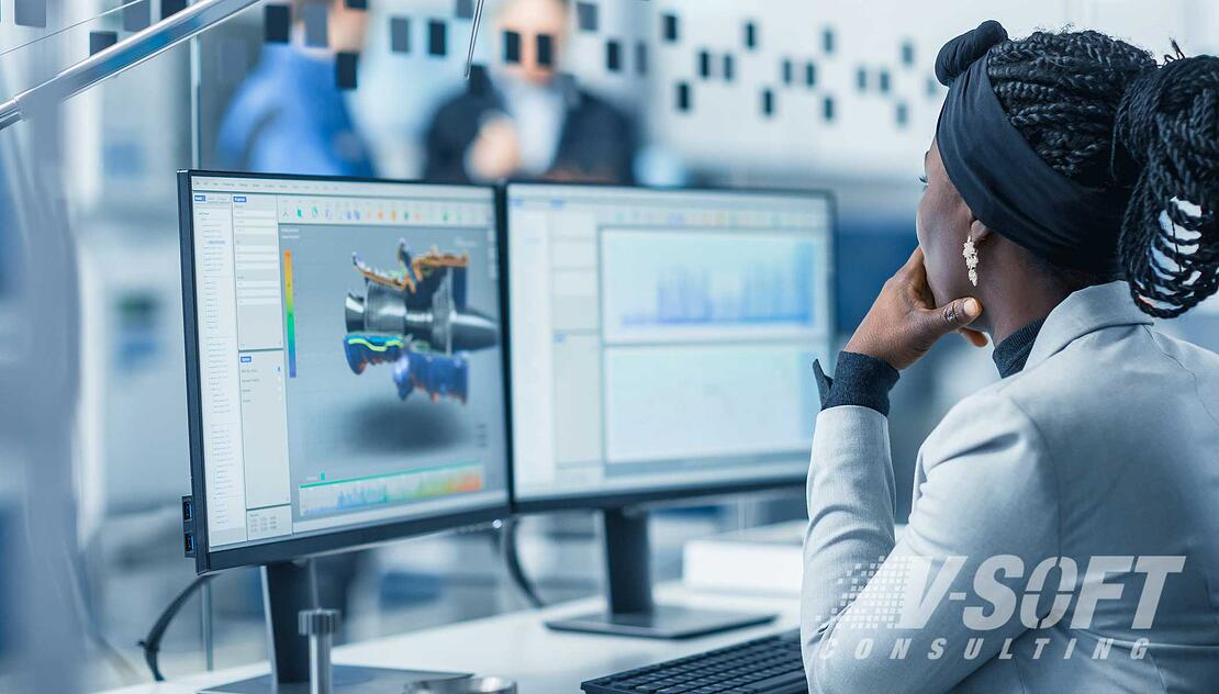 Female engineer working on Hyperautomation solution