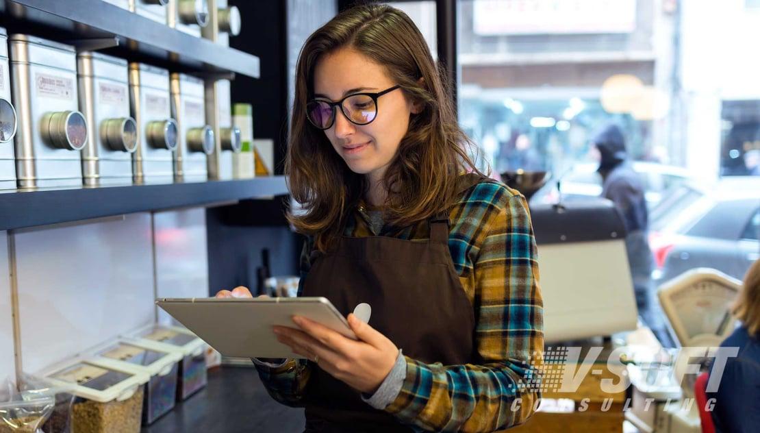 Retail worker using the ServiceNow Platform
