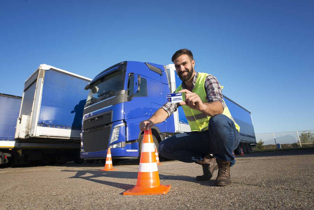 Truck driver showing ID