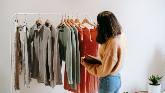 Lady picking an outfit