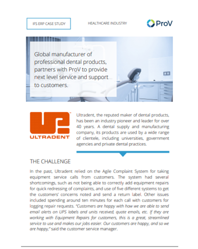 Ultradent Customer Service IFS Applications ERP Case Study
