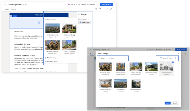 AI helpt u om de beste assets voor uw campagnes te selecteren in Microsoft Dynamics 365 Marketing