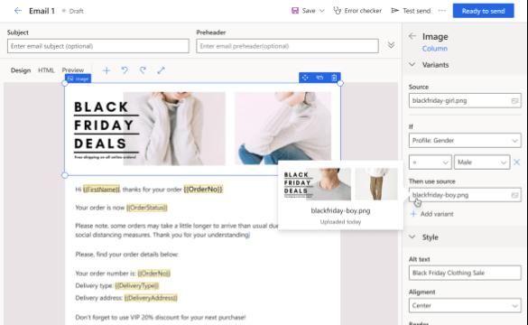 Moeiteloos dynamische content aan uw e-mailcampagnes toevoegen in Microsoft Dynamics 365 Marketing
