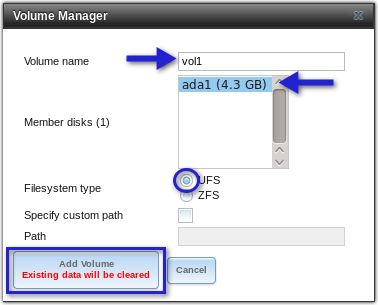 freenas volume manager settings