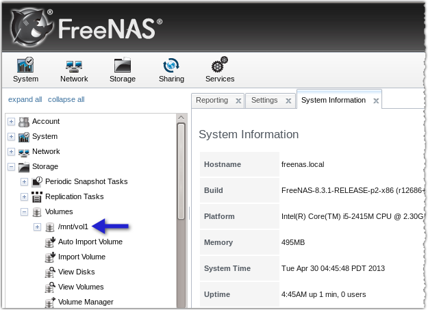freenas newly added volume