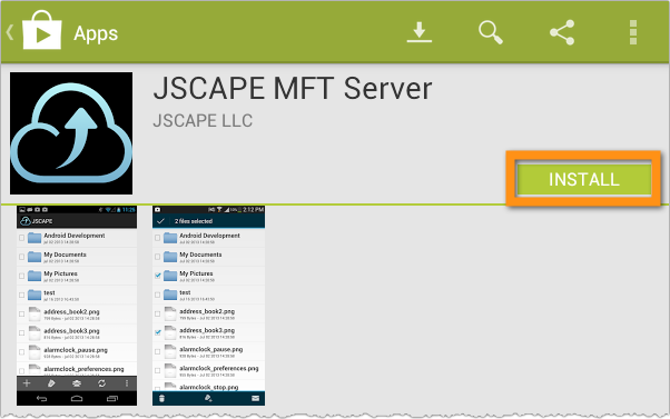 jscape mft server android app install