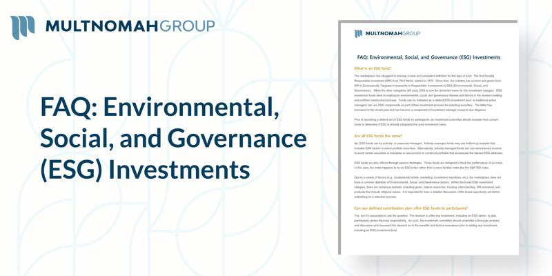 New FAQ: ESG Investments