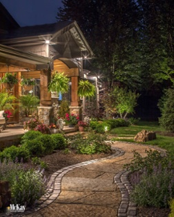 Front Entrance Outdoor Lighting Omaha Nebraska McKay Landscape Lighting B 12-1