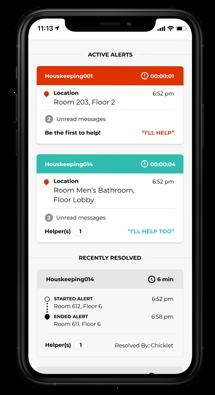 react mobile app active alert responder mockup