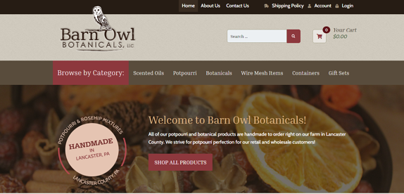 EZMarketing Builds Website for Barn Owl Botanicals