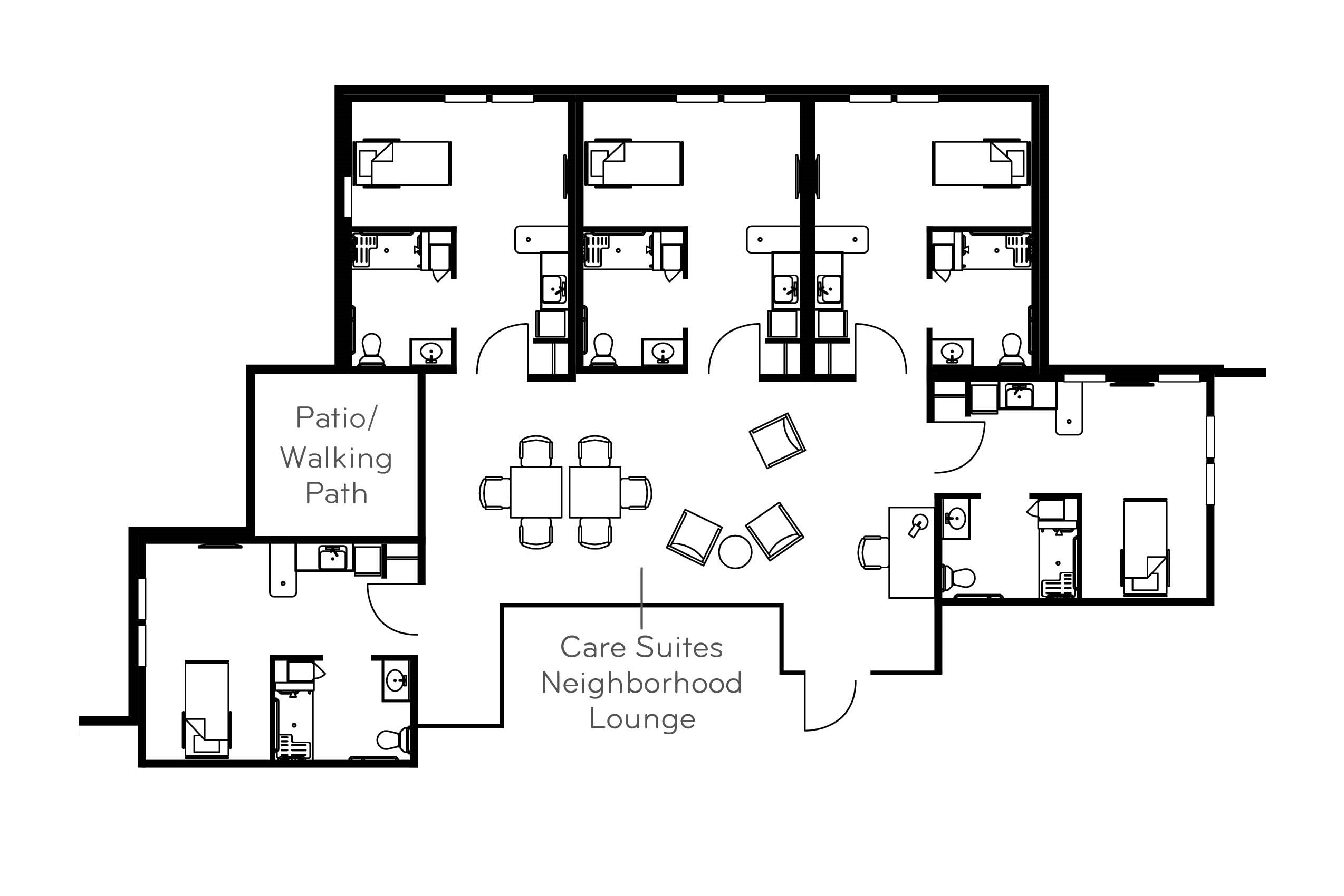 Care suites - Studio + kitchenette, 331 sq ft
