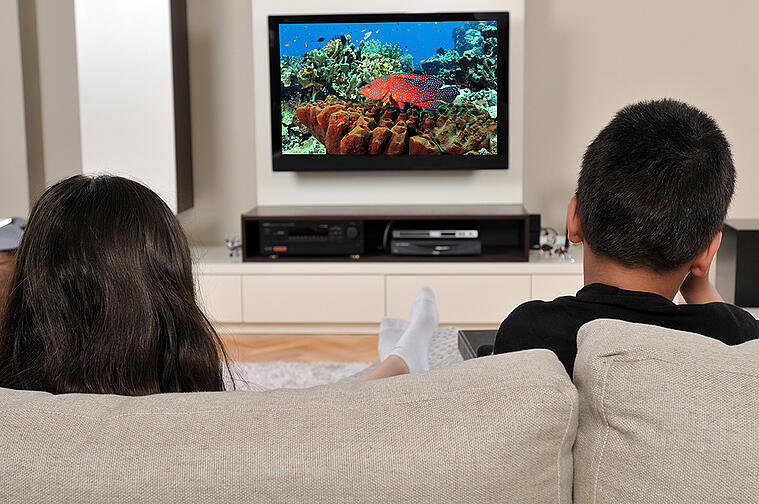Two Children Sitting on Couch Watching Red Fish on TV Screen