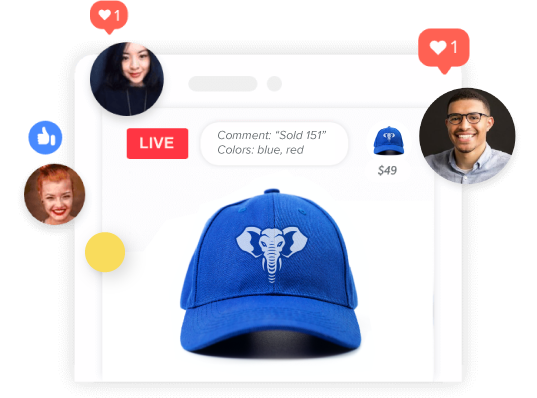 Image of a hat with team logo being sold via interactive live video selling