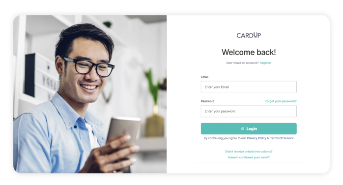 Log in or sign up for CardUp