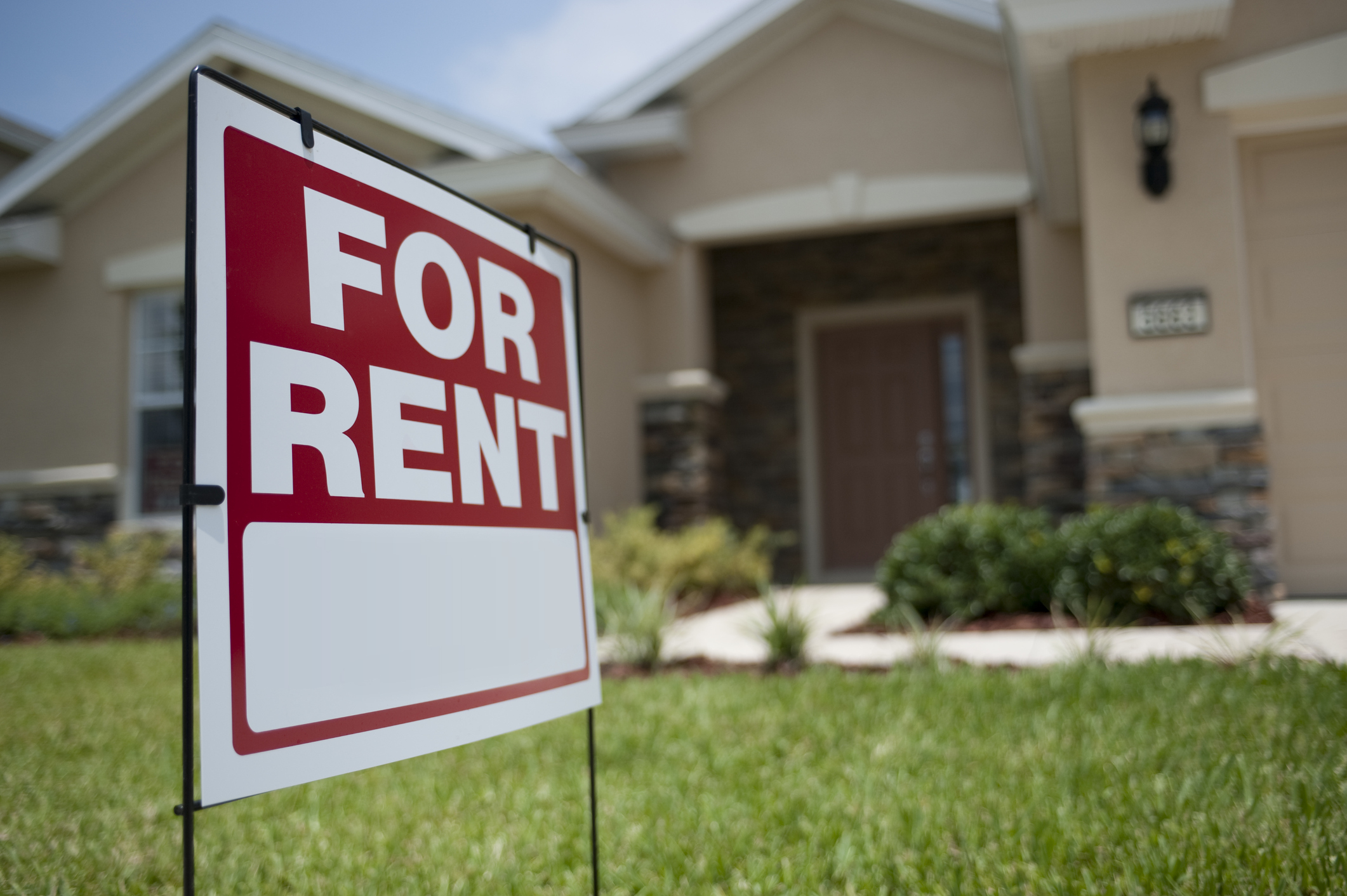 Build to rent home with for rent sign