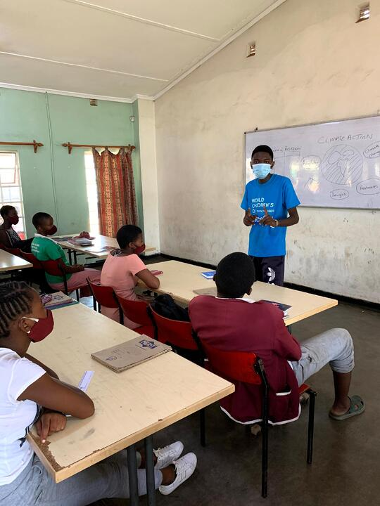 Nkosi during a school visit on the importance of climate change during the World Children's Day 2020 commemorations in Harare, Zimbabwe. © Courtesy of Unicef Zimbabwe