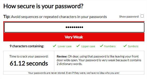 Password Strength Meter - Google Chrome