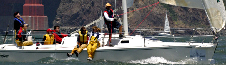 A team working together onboard a sailboat