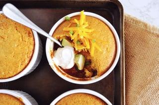 Chili Cornbread Pot Pies