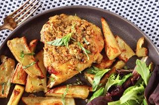 Sheetpan Pesto Chicken and Garlic Potato Wedges
