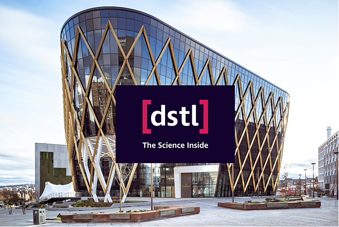The Catalyst building + the Defence Science and Technology Laboratory logo