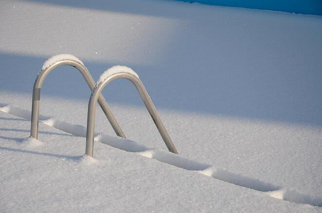 snow on top of pool