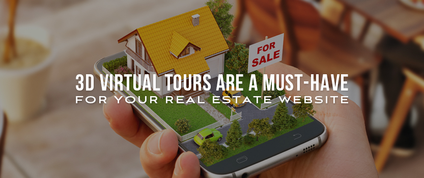 """Hand holding a smartphone with a 3D house and for sale sign popping out of the screen and overlaid text that reads, """"3D Virtual Tours Are a Must-Have for Your Real Estate Website"""""""