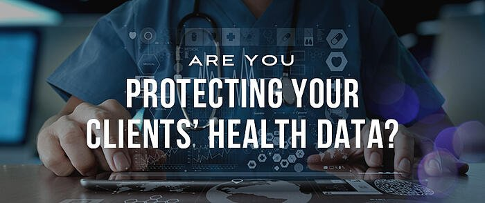 """Person wearing scrubs using an iPad with floating healthcare tech icons and overlaid text that reads, """"Are You Protecting Your Clients' Health Data?"""""""