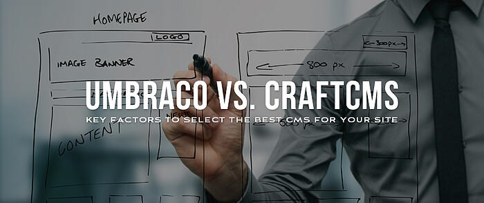 """Man wearing dress shirt and tie drawing a sitemap on transparent glass with overlaid text that reads, """"Umbraco vs. CraftCMS: Key Factors to Select the Best CMS for Your Site"""""""