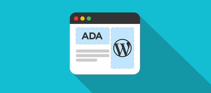 illustration showing wordpress logo with americans with disabilities act
