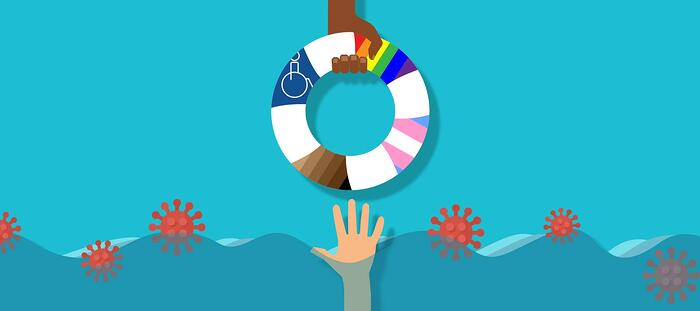Boat lifesaver with pride and trans flags and disability symbol