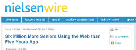 NielsenWire Article on Senior's Internet Use