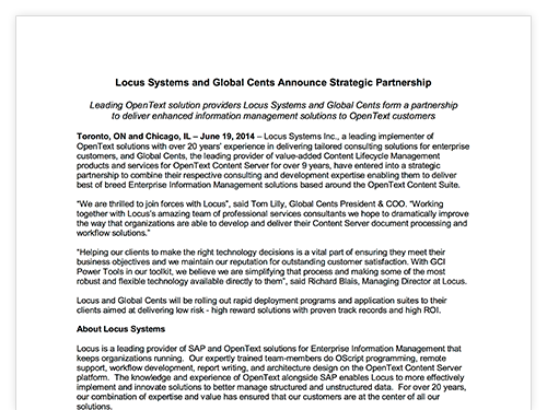 Locus Systems & Global Cents Partnership