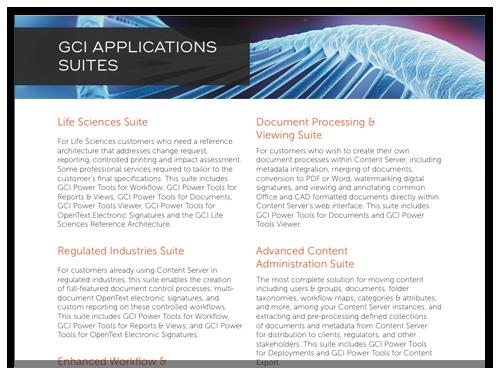GCI Application Suites