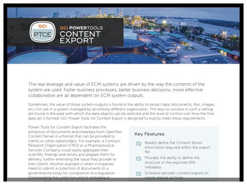 GCI PowerTools for Content Export