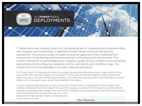 GCI PowerTools for Deployements