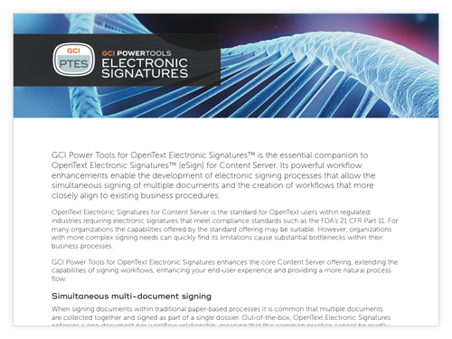 GCI PowerTools for Electronic Signatures