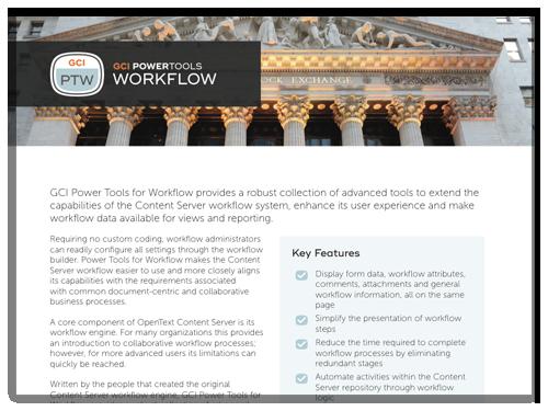 GCI PowerTools for Workflow