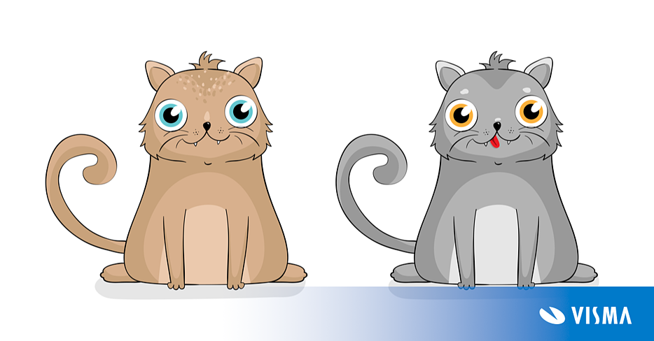 Image of two Crypto Kitties,  Crypto kitties are a funny example of token application on the Ethereum blockchain