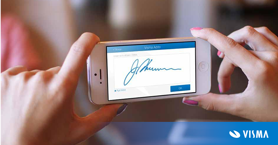 Image of two hands holding an iPhone, with a digital signature across the screen