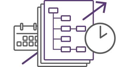 イラスト:右斜め上にのびた矢印状にカレンダー、3枚の組織図、時計が並んでいる