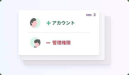 イラスト:カードが3枚重なっている、一番上のカードには「ver.3」の文字と変更点が書かれている