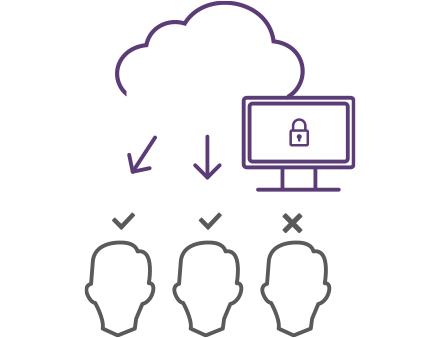イラスト:雲と鍵マークが写ったディスプレイから矢印が3人の人に伸びている、2人はチェックマークが、1人はバツマークがついている