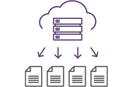 イラスト:雲とサーバーが重なっており、そこから複数のファイルに矢印が伸びている