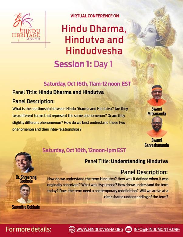 Hindu Dharma, Hindutva and Hindudvesha - Virtual Conference Day 1