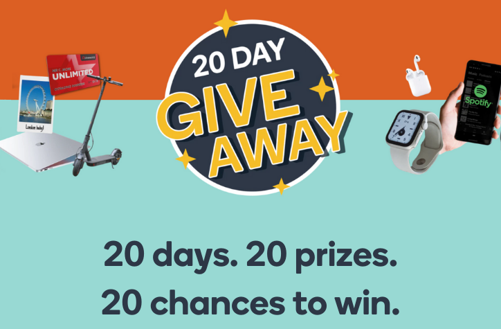 20 Day Giveaway: our biggest prize giveaway is back!