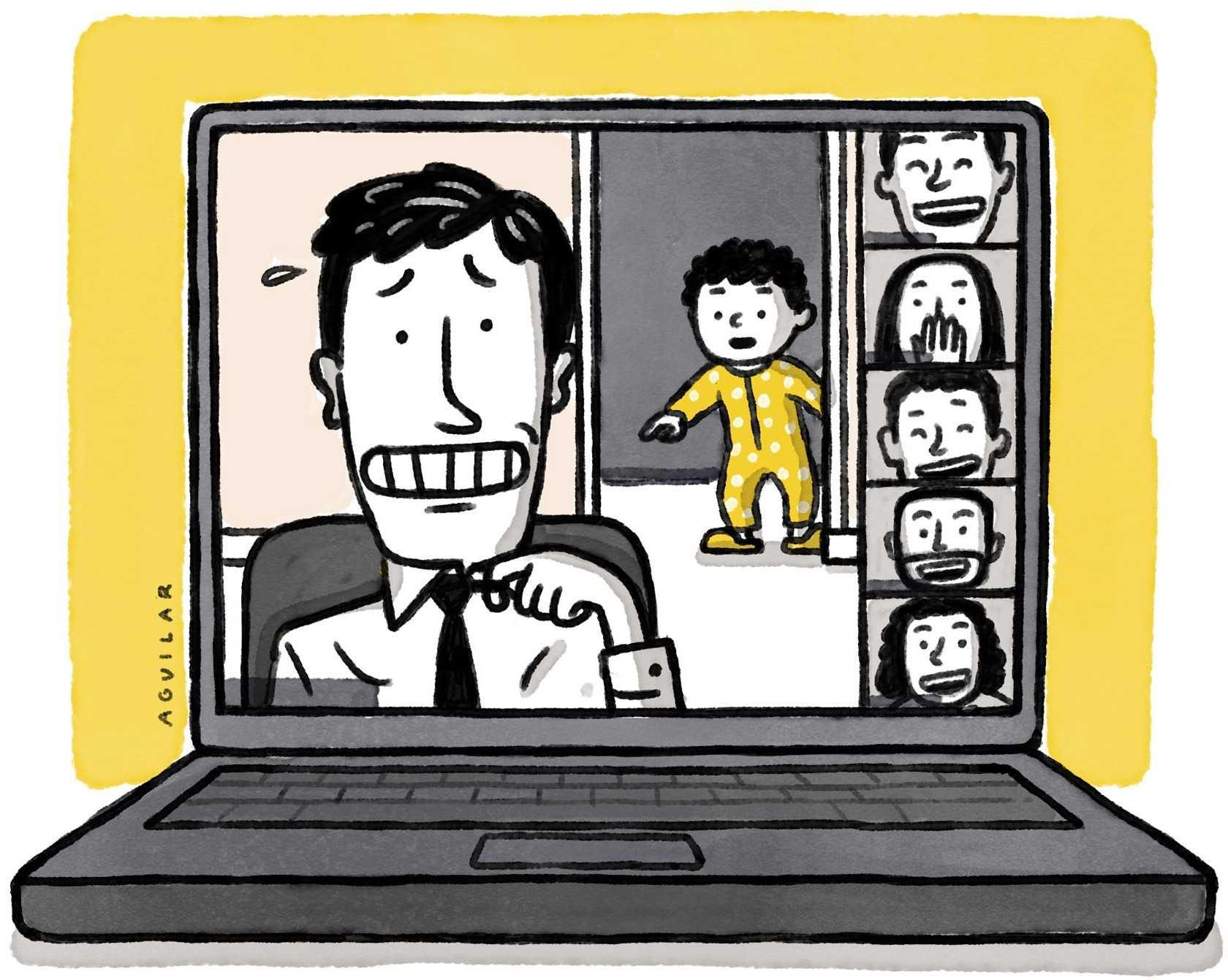 hombre en videollamada de trabajo que es interrumpido por su hijo