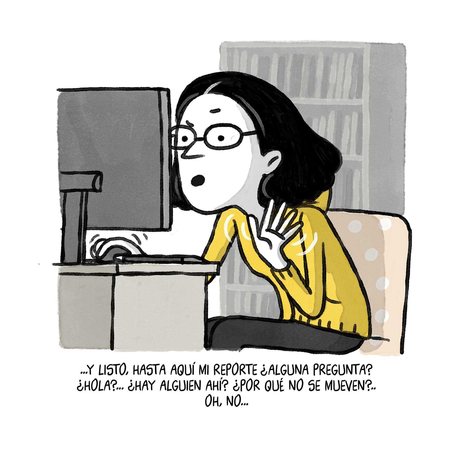 mujer en videollamada con problemas de conexion